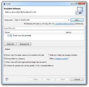 Available software dialog